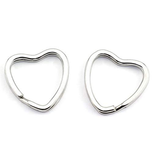 Lind Kitchen 10pcs Creative Flat Key Ring DIY Keychain Accessories Metal Key Split Ring Silver Heart Shape