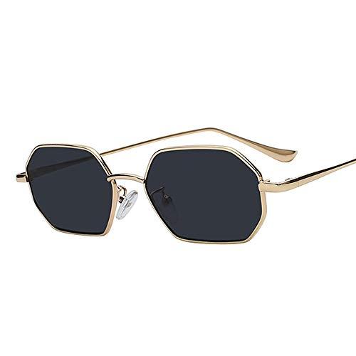 Sxuefang Sonnenbrille Polarisierte Sonnenbrille Kleiner Rahmen Polygon Klare Linse Männer Vintage Hexagon Metallrahmen