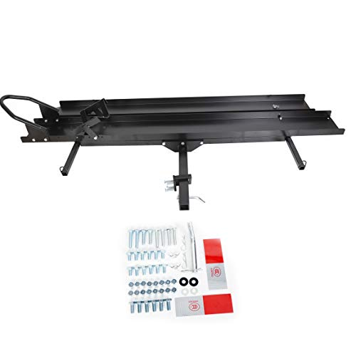 7BLACKSMITHS Black Steel Motorcycle Carrier Hauler Rack Dirt Bike Rack Hitch Mount W/Loading Ramp-600LB(You Will Receive Two Packages!!)