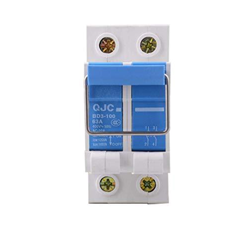 GFPR 2P 63A Pull-Ring-Trennschalter BD1-63 Photovoltaik-Netz verbunden Messertor Trennschalter aus reinem Kupfer Kontaktstück sicher und bequem Bemessungsisolationsspannung 400A 2 Packungen