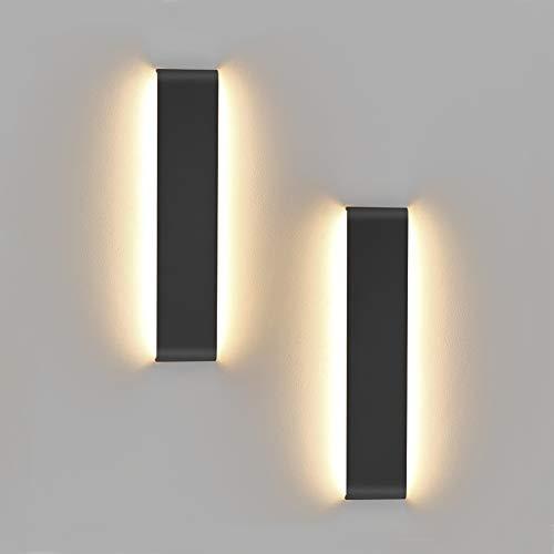 Klighten 2 Stücke Wandleuchten LED Innen,10W,30CM LED Wandlampen,IP44 Badleuchte,Schwarz,Moderne Wandbeleuchtung Perfekt für Schlafzimmer, Wohnzimmer, Treppen und Badezimmer Licht,3000K Warmweiß