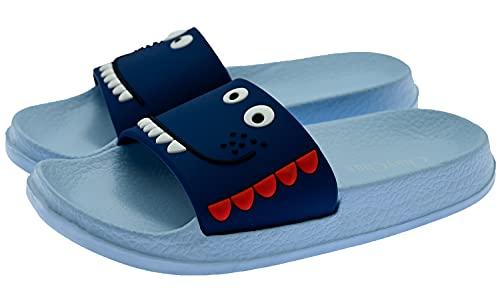 ChayChax Kinder Pantoletten Sommer Hausschuhe Leicht Badeschuhe Badepantolette Offener Zeh Strand Sandalen Bequeme Badeschlappen,Blau B,24/25 EU