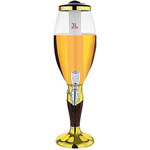 Columna De Cerveza De 3L Con Refrigeración Por Hielo, Torre De Cerveza Con Luz LED, Dispensador De Cerveza, Dispensador De Bebidas Con Grifo, Columna De Bebida Ideal Para Fiestas, Bares Y El Hogar,Oro