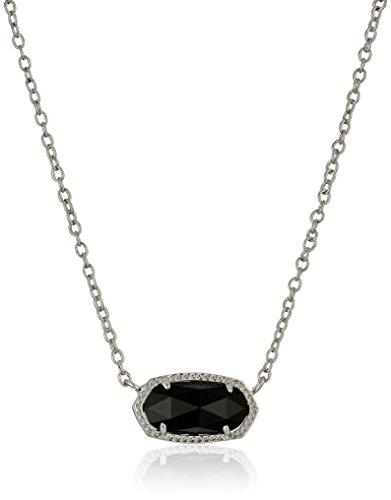 Kendra Scott Elisa Pendant Necklace for Women, Fashion Jewelry, Rhodium-Plated, Black
