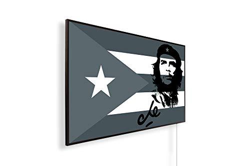 Könighaus Fern Infrarotheizung – Bildheizung in HD mit TÜV/GS - 200+ Bilder - Mit Thermostat - 7 Tages-Programm - 800 Watt -146. Che Guevara mit Cuba Flagge Black Edition