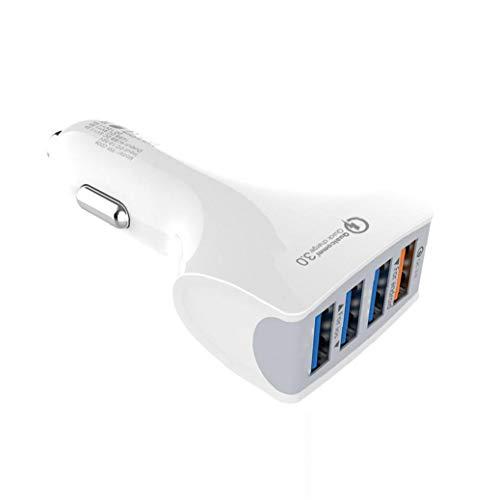 Rrunzfon Carga Rápida 3.0 práctico Cargador de 4 Puertos USB Cargador de Coche portátil de Fast Car Adapter (Blanco)