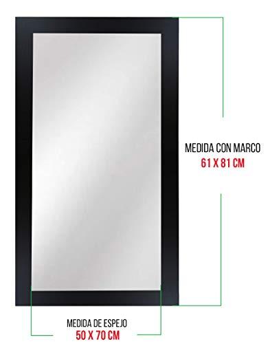 Chely Intermarket, Espejo de Pared Cuerpo Entero 50x70cm (Marco Exterior 61x81cm) (Negro) MOD-113   Forma Rectangular   Decoración de salón, Comedor o dormitorios   Acabado Elegante (113-50x70-4,25)