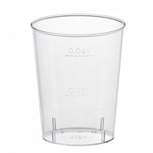 Gastro-Bedarf-Gutheil 250 x Schnapsglas Plastik mit Eichstrich bei 20-40 ml/Stamperl Medizinbecher Schnapsbecher