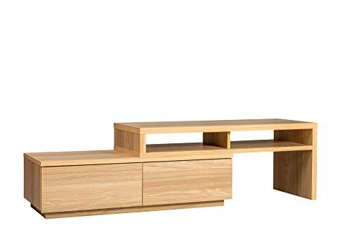 Movian, Mueble de Tv de Madera de 2 Cajones/Soporte de Tv de 2 Compartimentos, Fácil Montaje, Móvil y Extensible, Salón Dormitorio - Tv Cabinet Sab-100 - Roble Claro