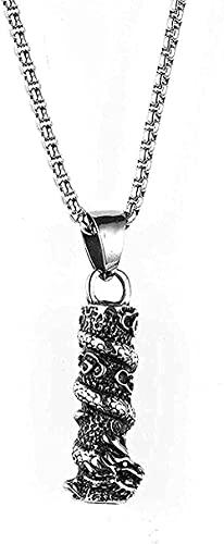 WYDSFWL Collar Collar de Acero Inoxidable joyería de los Hombres Collar cilíndrico dragón Vintage Collar Colgante de Acero de Titanio Regalo para Mujeres Hombres Regalos