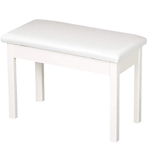 PIVFEDQX Piano Stool Piano Keyboard Bench PU Leather Breathable Digital Piano Chair with Storage for 2 Person Comfortable Seating Experience Color White Size One Size