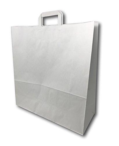 25 Grands Sacs Papier kraft blanc avec poignée 36 litres largeur 45 cm , hauteur 47 cm, soufflet 17- sac cabas à anse plate solide, résistant papier 100g non imprimé ref SKB33PP1F (25)