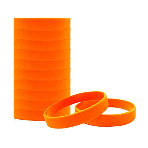 HSQCEZ 12 Pcs Solid Orange Silicone Bracelets Wristbands for Sports club, group Games, Kids Play, Party Favors Adults Fashion Party Sports Accessories, Plain Orange Wristbands Unisex (colour Bracelet)