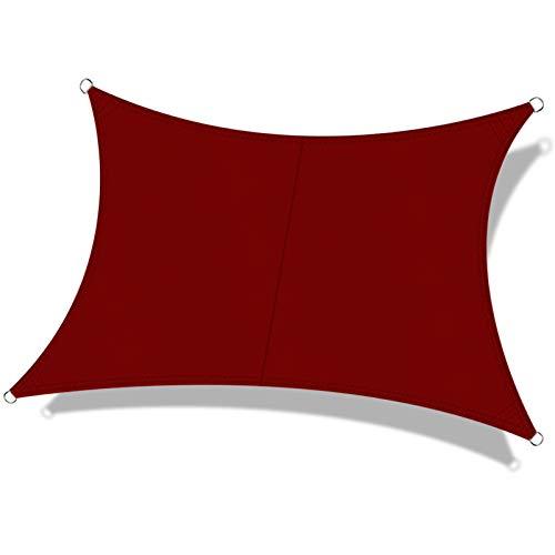 OKAWADACH Toldo Vela de Sombra Rectangular 2 x 3m, protección Rayos UV Impermeable para Patio, Exteriores, Jardín, Color Vino Tinto