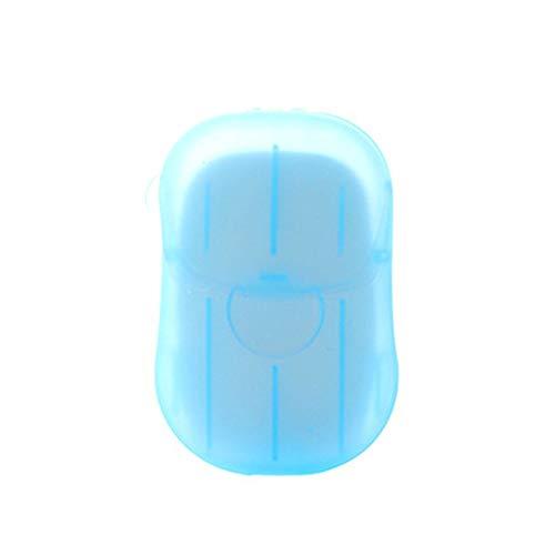 Weehey Hylotele Fogli di Sapone Viaggio Monouso con Scatola di Immagazzinaggio Portatile 20 PCS Schiuma Profumata Mini Sapone di Carta Il Lavaggio delle Mani Detergente -Blu