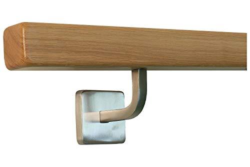 Quadratischer Eiche-Handlauf mit gewinkelten Vierkanthalter (280cm 4 Edelstahl-Halter)