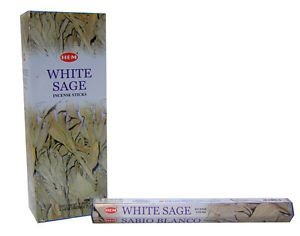 Weiß Räucherstäbchen Salbei (6Packungen = 120Sticks) in einer Box mit Stockhalter von Sterling effectz