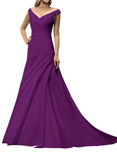 Long Prom Dresses 2020 Off Shoulder Evening Gowns A-Line Wedding Guest Dress Purple 2