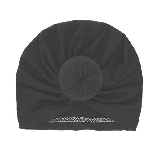 Miaoo Weiche Baumwolle Baby Mädchen Hüte Turban Neugeborene Kopfbedeckung Falten Headwrap (schwarz)