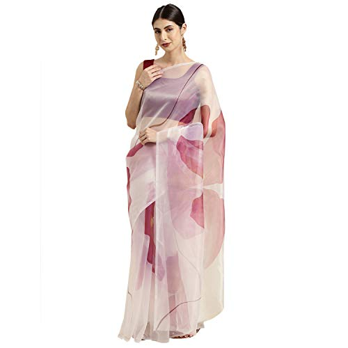 Womanista Women's Crepe Saree with Blouse Piece (WM1312_Off White & Pink_Onesize_Off White, Pink)