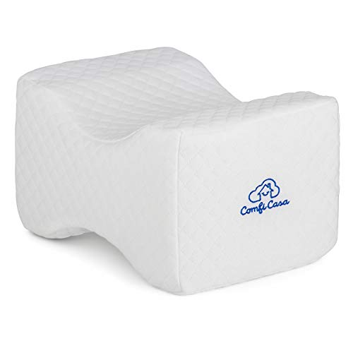ComfiCasa Memory Foam Knee Pillow - Orthopedic Knee Support Pillow for Hip Pain, Chronic Back Pain, Sciatica Relief & Scoliosis - Wedge Contour Leg Pillow for Side Sleepers (White-)