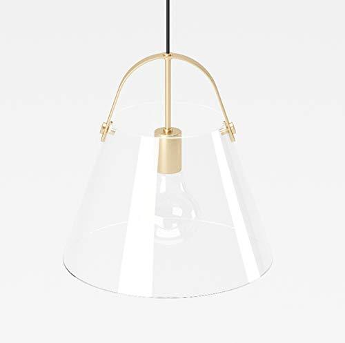 PLAYBOY Hängelampe mit transparenten, offenem Lampenschirm aus Glas und Goldener Fassung, 23x25cm, hängende Lampe, Pendelleuchte, Pendellampe, Glaslampe, Gold, Retro-Design, Club-Stil, Esszimmerlampe
