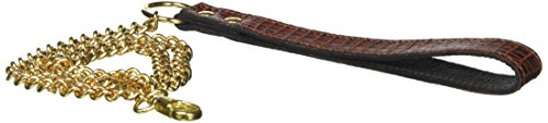 Slap läderkedja slavkoppel med brunt krokodilläderhandtag