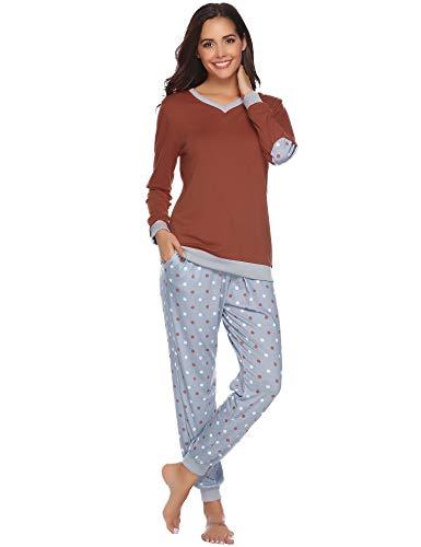Hawiton dames pyjama lang nachtkleding set sleepwear loungewear van katoen