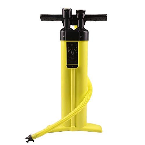 Ysswjzzzz Bomba de Aire, Tabla de Remo de Surf de Tres vías de Doble Barril, Bomba de Aire Sup, Bomba de Mano, Aire de Alta presión con barómetro (Color : Yellow)