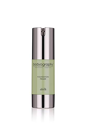 Bodyography Foundation Primer (Green): Clear-Drying Anti-Aging Salon Makeup Primer w/ Vitamin E, A, Jojoba, Grapeseed Oil | Minimize Rosacea, Redness | Gluten-Free, Cruelty-Free