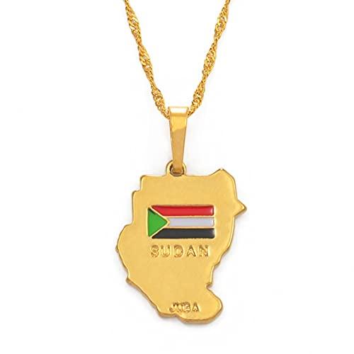 Collar Con Colgante Original De Sudán Mapa De Sudán Dorado Mapa De África # 002210