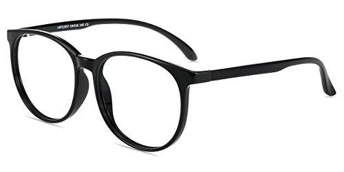 Firmoo Gafas Luz Azul para Mujer Hombre, Gafas Filtro Antifatiga Anti-luz Azul y contra UV400 Ordenador de Gafas Montura TR90 para Protección los Ojos, L1957 Negro