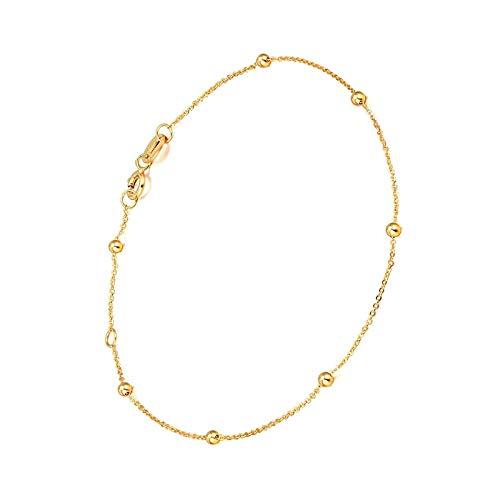 Pulsera de cuentas de oro rosa maciza enlace delicado con cuentas para mujeres y señoras amarillo