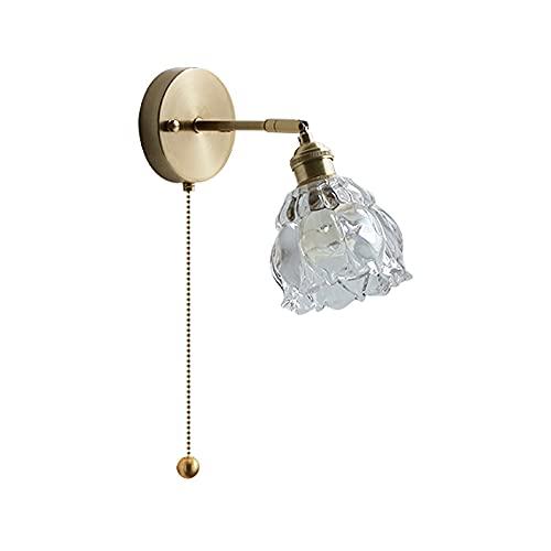 AZPINGPAN Lámpara de pared de cristal para sala de estar, pantalla de cristal de cobre en el interior, luces de pared iluminadas, E27 con soporte de lámpara de lectura moderna