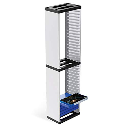 SOONHUA Estante de disco para videojuegos,cajas de almacenamiento de DVD, soporte de torre de almacenamiento de juegos de 36 discos de CD estuche organizador soporte para Playstation 5