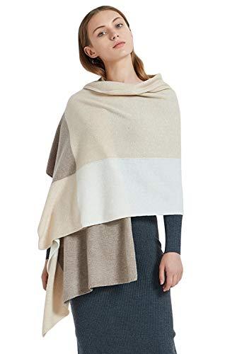 cashmere scarf wraps blanket shawls 100% pure cashmere scarves Pashmina extra large hit color (camel & beige)