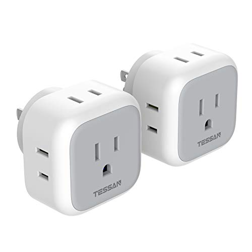 Multi Plug Outlet Extender, TESSAN Multiple Outlet Splitter Box with 4 Electrical Charger Cube Outlets, Wall Tap Power Expander Adapter for Cruise Ship Home Office Dorm Essentials, 2 Packs