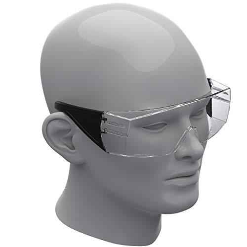 Schutzbrille für Brillenträger nach DIN EN 166 Unisex aus Kunststoff - Made In Germany - Kratzfeste Sicherheitsbrille Überbrille Arbeitsbrille Traumabrille (Schwarz)