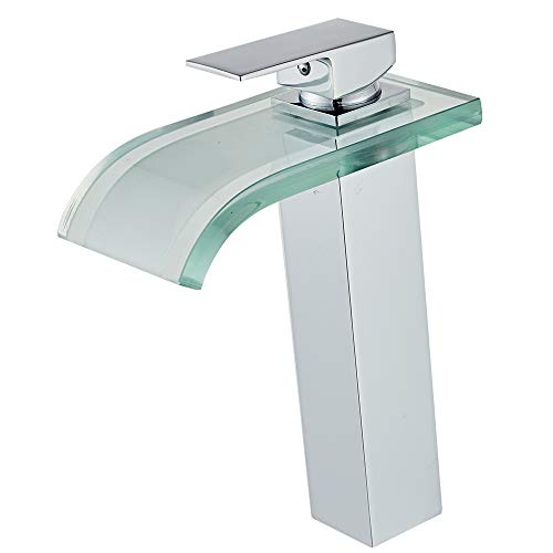 Wovier LED Chrome Glass Spout Waterfall Bathroom Sink Faucet with Supply Hose,Single Handle Single Hole Vessel Lavatory Faucet,Slanted Body Basin Mixer Tap Tall Body Commercial