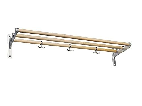 ESSEM DESIGN 017 Nostalgi - Zapatero (100 cm, madera de abedul, aluminio, con 3 ganchos, montaje en la pared, como zapatero o para sombreros)