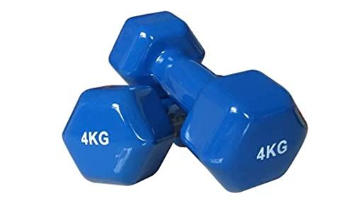 Generico Manubri Pesi per Palestra Fitness Yoga Esercizio Casa in Vinile (Set di 2) da 2kg -8kg (Blu, 4kg×2)*8kg in Totale*