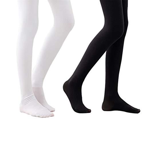 Panty dansen danskousenbroek dansleggings 2 paar balletuitrusting kledingaccessoires wit zwart warm flexibel voor meisjes kinderen