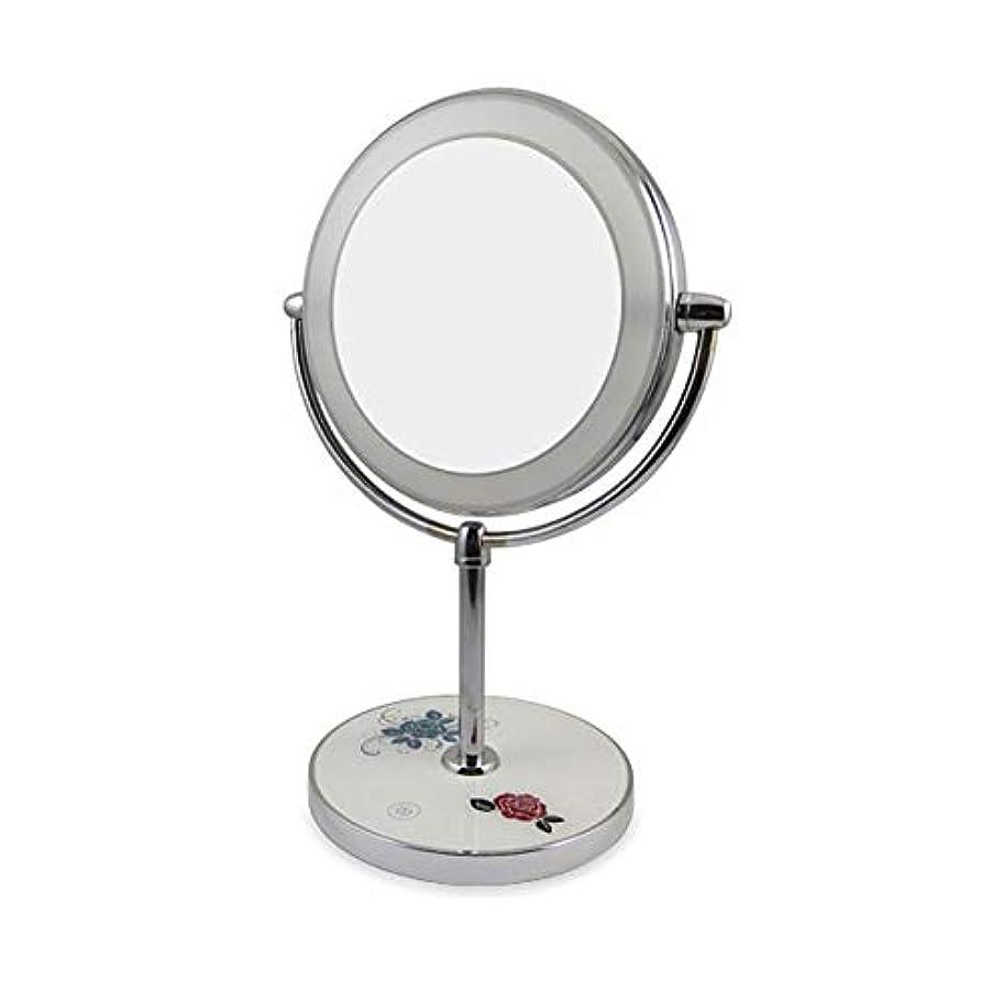 練習したプロフィール苦痛化粧鏡の化粧鏡、LEDライトデスクトップ化粧鏡と充電式360度回転USB