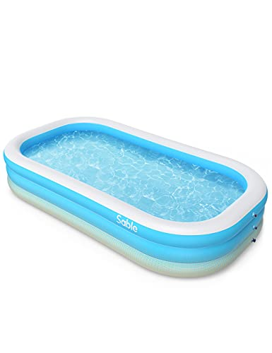 """Sable Inflatable Pool, Blow Up Family Full-Sized Pool for Kids, Toddlers, Infant & Adult, 118"""" X 72"""" X 22"""", Swim Center for Ages 3+, Outdoor, Garden, Backyard, Summer Water Party"""