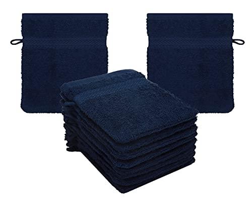 Betz 10er Pack Waschhandschuhe Waschlappen Größe 16x21 cm Kordelaufhänger 100{7391f8d07107b9a5e1fcbe9517d1d9d3508c338722eb4505aaf5e4ce5539f064} Baumwolle Premium Farbe dunkelblau