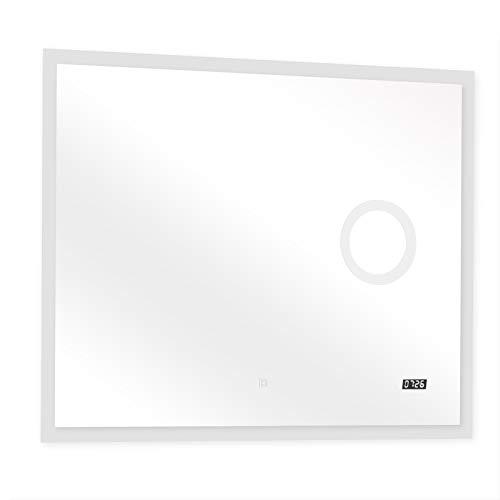 Espejos de Baño Iluminados por LED - Clase Energética A ++, con Sensor Táctil, Luz Fría y Cálida Ajustable, Montaje en Pared, Reloj Digital, Elección de Tamaños y Modelos - Espejo de Tocador