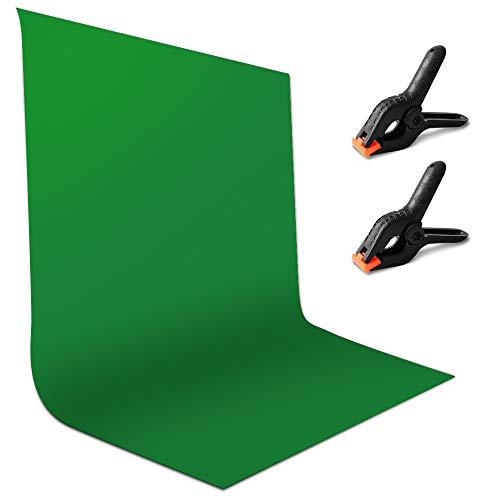 Greenscreen Fotohintergrund, lohey 1,8 x 2,8m Green Screen Foto Hintergrund Musselin Faltbare Reiner Baumwolle Fotostudio Backdrop mit 2 Klemme für Tik Tok Fotografie Videoaufnahme Modefotografie
