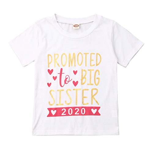 Gaono 2019 Baby Girl Clothes Outfit Big Sister Letter Print T-Shirt Top Blouse Shirts (A-Red 2020, 2-3 Years)