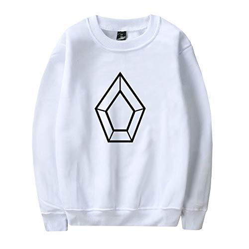 YamYamdan Pentagon Pullover Sweat-Shirt à Capuche en Coton ouaté à Manches Longues, Version coréenne, pour Hommes Unisexe (Color : White02, Size : M)