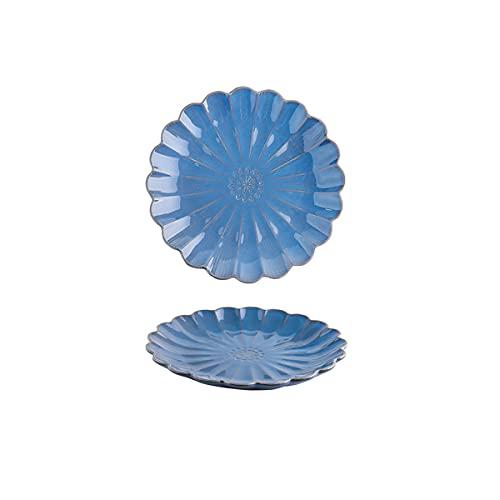 DSFHKUYB Juego de 2 Platos de cerámica para Cena, para Pasta, Ensalada, Plato Principal, microondas y lavavajillas,Azul,10in